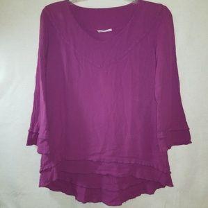Cottonways Tunic Size 1 Fuchsia Layered Hems